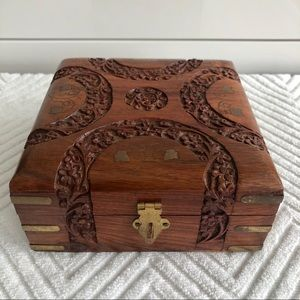 Hand made Carved Wooden Oak Box with Brass Inlay